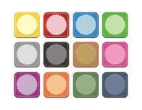 Grupo de botão quadrado colorido Foto de Stock