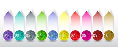 Grupo de botões coloridos e das bandeiras de papel com números para o webdesign e infographic ilustração royalty free