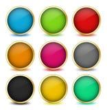 Grupo de botões da Web com quadros dourados. Vetor Imagens de Stock Royalty Free