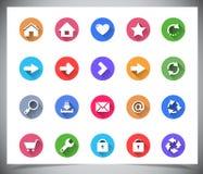 Grupo de botões lisos da cor. Imagens de Stock