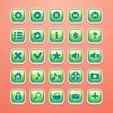 Grupo de botões para a relação glamoroso e o design web do jogo ilustração stock