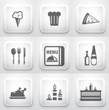 Grupo de botões quadrados da aplicação: restaurante Foto de Stock