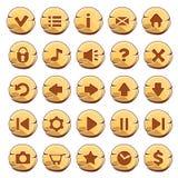 Grupo de botões redondos do ouro Fotografia de Stock Royalty Free