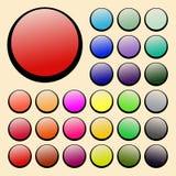 Grupo de botões redondos do vetor violetas, verde, amarelo, azul, vermelho, lilás, alaranjado Imagens de Stock