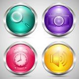 Grupo de botões de vidro coloridos no quadro do metal com ícones de uma comunicação Imagens de Stock