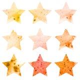 Grupo de brilho do ícone das estrelas da aquarela Vetor ilustração royalty free