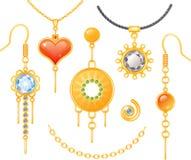 Grupo de brincos e de colares Fotografia de Stock Royalty Free