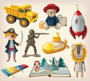 Grupo de brinquedos antiquados ilustração stock