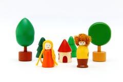 Grupo de brinquedos de madeira coloridos isolados no branco Imagens de Stock Royalty Free