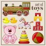Grupo de brinquedos do vintage ilustração royalty free