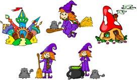 Grupo de bruxas e de castelos Imagem de Stock