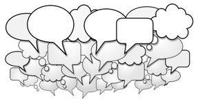 Grupo de burbujas sociales del discurso de la charla de los media Imagen de archivo libre de regalías
