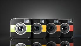 Grupo de cámaras ajustadas coloridas stock de ilustración