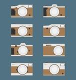 Grupo de câmera do vintage, projeto liso Fotografia de Stock Royalty Free