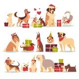 Grupo de cães bonitos em feriados do ano novo e do Natal de Santa Hats Symbol Of 2018 isolados no fundo branco ilustração do vetor