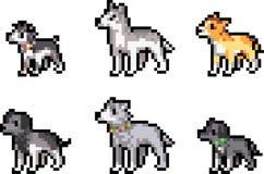 Grupo de cães do pixel ilustração stock