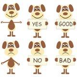 Grupo de cães dos desenhos animados com sinais Fotos de Stock Royalty Free