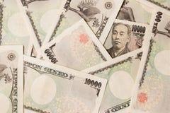 Grupo de cédula japonesa 10000 ienes fotografia de stock