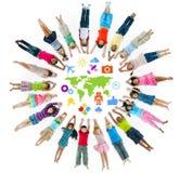 Grupo de círculo de los niños con símbolo Fotografía de archivo libre de regalías