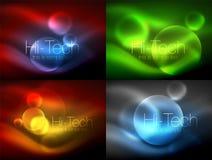 Grupo de círculos de incandescência de néon borrados, de moldes modernos da bolha da olá!-tecnologia, de formas redondas de vidro ilustração do vetor