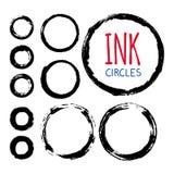 Grupo de círculos pintados à mão da tinta ilustração royalty free