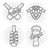 Grupo de cópias da cerveja do t-shirt Vetor do vintage ilustração stock