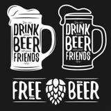 Grupo de cópias do vintage da tipografia da cerveja citações ilustração royalty free