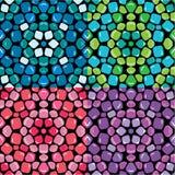 Grupo de c sem emenda dos testes padrões de mosaico - azuis, o verde, o cor-de-rosa e o roxo ilustração royalty free