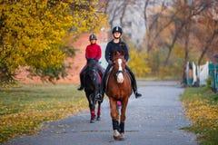 Grupo de caballo de montar a caballo de los adolescentes en parque del otoño Foto de archivo