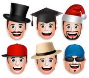 Grupo de cabeça realística da cara 3D de coleções do homem dos chapéus ilustração stock