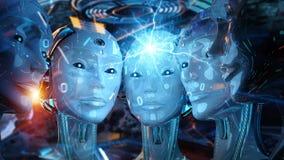 Grupo de cabe?as f?meas dos rob?s que criam a rendi??o digital da conex?o 3d ilustração royalty free