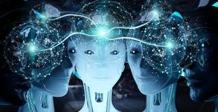 Grupo de cabe?as f?meas dos rob?s que criam a rendi??o digital da rede 3d da esfera ilustração royalty free