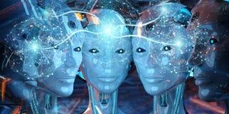 Grupo de cabe?as f?meas dos rob?s que criam a rendi??o digital da rede 3d da esfera ilustração do vetor
