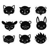 Grupo de cabeças dos animais da floresta dos desenhos animados Silhuetas do vetor isoladas no fundo branco Fotografia de Stock Royalty Free