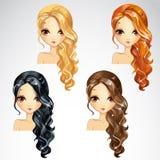 Grupo de cabelo longo encaracolado Imagens de Stock