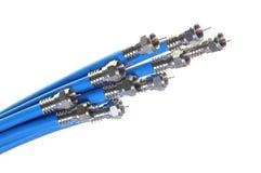 Grupo de cabos coaxiais azuis foto de stock