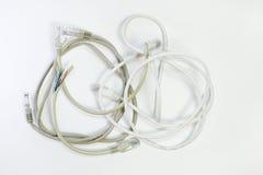 Grupo de cabos de remendo com isolação diferente do fio da parte superior da cor, wou Fotografia de Stock Royalty Free