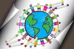Grupo de cabritos con diversas razas que celebran las manos stock de ilustración