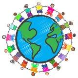 Grupo de cabritos con diversas razas que celebran las manos ilustración del vector