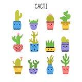 Grupo de cactos e de plantas carnudas Cactos em uns potenciômetros de flor Ícones dos desenhos animados Coleção de plantas exótic Foto de Stock Royalty Free