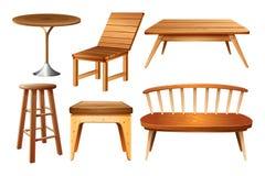 Grupo de cadeiras e de tabelas ilustração do vetor