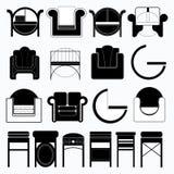 Grupo de cadeiras nas cores e nas formas diferentes, ícones do vetor sob a forma da mobília Fotos de Stock