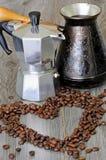 Grupo de café de fabricantes e de café das xícaras de café Imagens de Stock