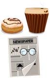 Grupo de café, de filhós e de jornal Fotografia de Stock Royalty Free