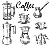 Grupo de café tirado mão do vintage do vetor ilustração stock