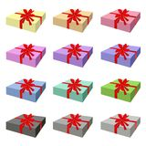 Grupo de caixa de presente bonita com fita vermelha Fotografia de Stock