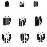 Grupo de caixa de presente preta nas mãos Fotos de Stock
