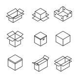 Grupo de caixas de cartão das linhas finas, ilustração do vetor ilustração royalty free