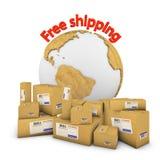 Grupo de caixas com globo Fotografia de Stock
