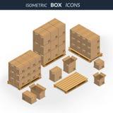 Grupo de caixas de cartão dos ícones ilustração royalty free